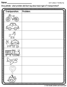The Big Trip aligned with Journeys First Grade Unit 4 Lesson 17