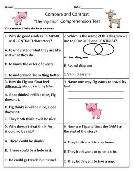 The Big Trip - Vocabulary & Comprehension Test/Quiz (Journeys)