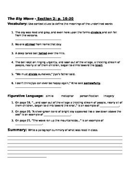 The Big Wave Comprehension packet