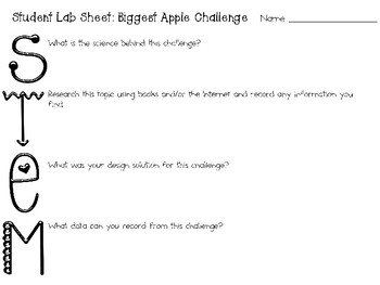 The Biggest Apple Ever: Picture Book Engineering Challenge - STEM Activity