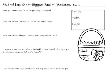 The Biggest Easter Basket Ever: Picture Book Engineering Challenge STEM Activity