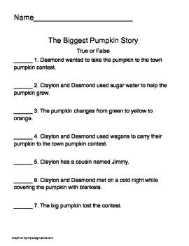 The Biggest Pumpkin (2nd grade literacy activity)