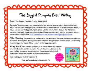 The Biggest Pumpkin Ever Writing