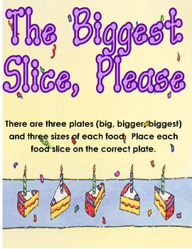 The Biggest Slice, Please Size Ordering Center Activity