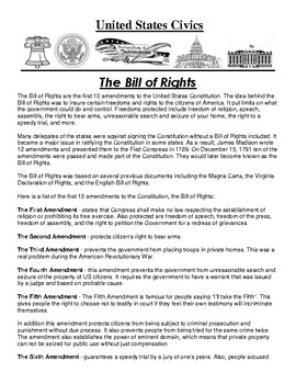The Bill of Rights Civics Article and Assignment