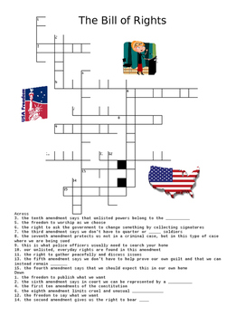 US Government: The Bill of Rights Crossword Puzzle or Web Quest
