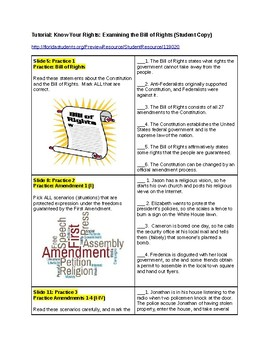 Tutorial - Know Your Rights - Examining, Bill of Rights - Study Guide & Ans Key