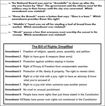 The Bill Of Rights Fun Analogy Worksheet Constitution Day Activity 2089181 on Free Worksheets For Grade 3 English