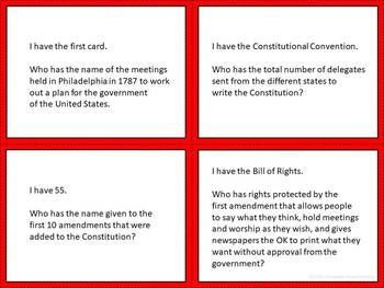 The Bill of Rights I Have, Who Has? Game, Digital Boom Cards, and Quiz