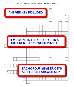 The Bill of Rights:  Interdependent Crossword Puzzles Activity