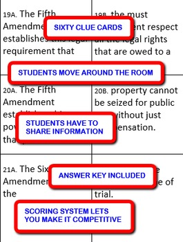 The Bill of Rights:  Interdependent Divided Questions Activity