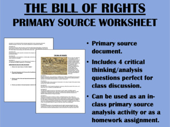 The Bill of Rights - Primary Source - USH/APUSH