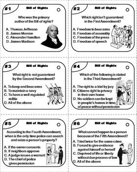 Bill of Rights Task Cards (American Government: US Constitution: Ten Amendments)