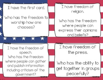 The Bill of Rights Vocabulary I Have, Who Has? Activity