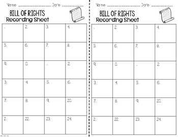 Bill of Rights and Amendments Vocabulary I Have, Who Has? Activity
