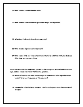 The Bill of Rights- Webquest and Video Analysis with Key
