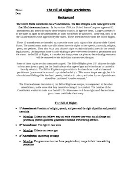 photograph relating to Bill of Rights Printables named Monthly bill Of Legal rights Worksheet Academics Shell out Instructors