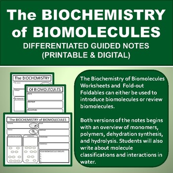 The Biochemistry of Biomolecules Foldable Graphic Organizer for INB