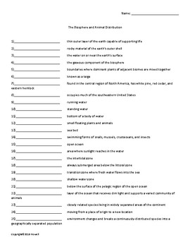 The Biosphere and Animal Distribution Vocabulary Quiz or Worksheet for Zoology