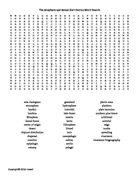 The Biosphere and Animal Distribution Vocabulary Word Search for Zoology
