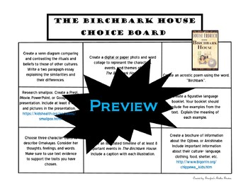 The Birchbark House Choice Board Novel Study Activities Menu Book Project Rubric