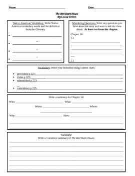 The Birchbark House Comprehension Worksheets