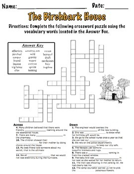 The Birchbark House Vocabulary Crossword Puzzle By Elsie 39 S