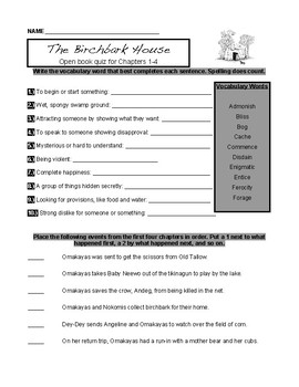 The Birchbark House by Louise Erdrich Novel Study Quizzes