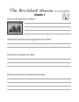The Birchbark House by Louise Erdrich Student Journals & Worksheets
