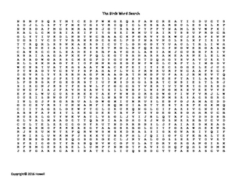 The Birds Vocabulary Word Search for Zoology