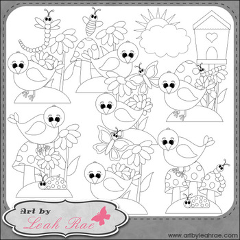 The Birds and The Bugs 1 - Art by Leah Rae Clip Art & Line Art / Digital Stamps