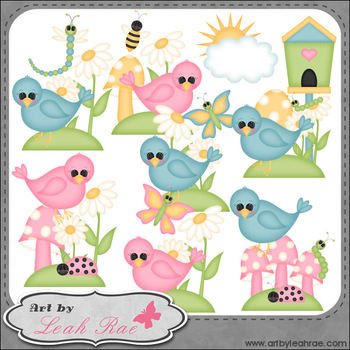 The Birds and The Bugs 1 - Art by Leah Rae Clip Art & Line