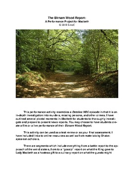 The Birnam Wood Report: A Performance Project for Macbeth