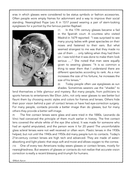 The Birth and History of Eyeglasses: Informational Passage and Assessment (5-8)