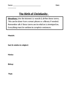 The Birth of Christianity Homework Definitions