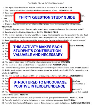 The Birth of Civilization:  Interdependent Answer Sheets Activity