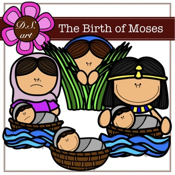 The Birth of Moses Digital Clipart (color and black&white)