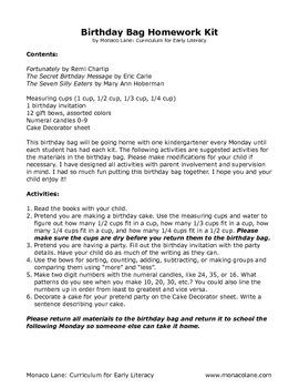 """""""The Birthday Bag"""" Homework Kit for Kindergarten (Set A #4 of 10)"""