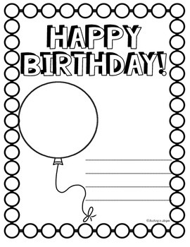 The Birthday Book: Coloring Pages to Make Class Birthday Card Books