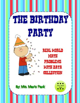 The Birthday Party Math Activity - Data Word Problem in the Real World