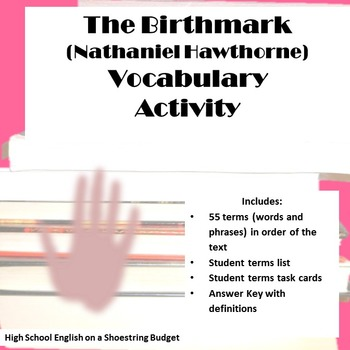 The Birthmark Vocabulary Activity with Task Cards (Nathani