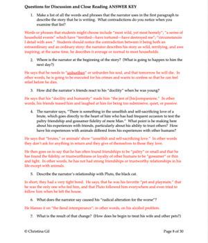 "Edgar Allan Poe Point of View |  Edgar Allan Poe Activities |  ""The Black Cat"""