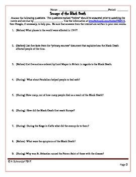 """The Black Death: Movie Questions for """"The Scourge of the Black Death"""""""
