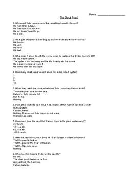 The Black Pearl Comprehension Quiz