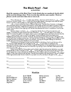 The Black Pearl by Scott O'Dell Novel Study Final Test