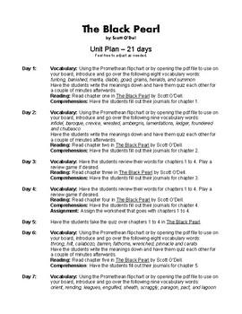 The Black Pearl by Scott O'Dell Novel Study Unit Plan
