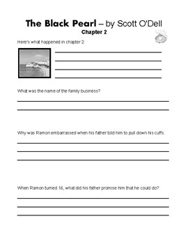 The Black Pearl by Scott O'Dell Student Journals & Worksheets