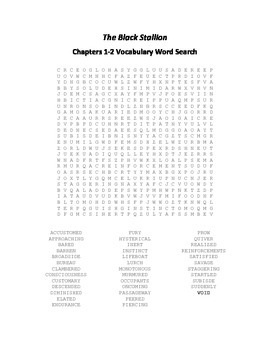 The Black Stallion Chapters 1-2 Vocabulary Word Search - Farley
