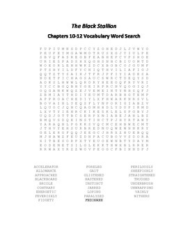 The Black Stallion Chapters 10-12 Vocabulary Word Search - Farley