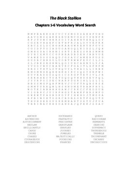 The Black Stallion Chapters 5-6 Vocabulary Word Search - Farley